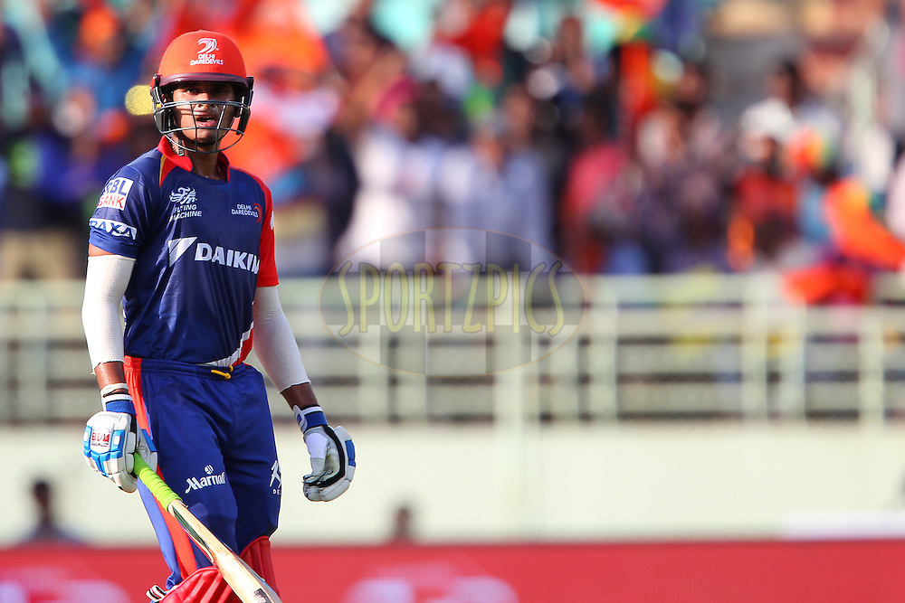 Shreyas Iyer of the Delhi Daredevils departs during match 13 of the Pepsi IPL 2015 (Indian Premier League) between The Sunrisers Hyderabad and The Delhi Daredevils held at the ACA-VDCA Stadium in Visakhapatnam India on the 18th April 2015.<br /> <br /> Photo by:  Ron Gaunt / SPORTZPICS / IPL