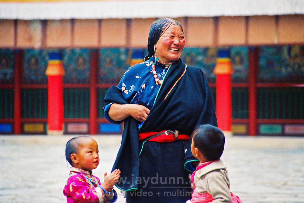 China, Xiahe, 2005. A monthly meeting of monks from the province was occasion for cleaning and festive arrangements at Labrang Monastery in Gansu..