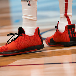 Mar 24, 2019; New Orleans, LA, USA; Shoes worn by Houston Rockets guard James Harden against the New Orleans Pelicans during the first half at the Smoothie King Center. Mandatory Credit: Derick E. Hingle-USA TODAY Sports