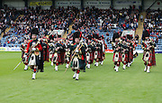 The band of the Black Watch play on the Dens pitch at half time - Dundee v Ross County - Ladbrokes Premiership at Dens Park<br /> <br />  <br />  - &copy; David Young - www.davidyoungphoto.co.uk - email: davidyoungphoto@gmail.com