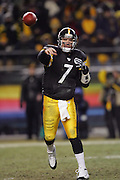 PITTSBURGH - JANUARY 23:  Rookie quarterback Ben Roethlisberger #7 of the Pittsburgh Steelers unloads a pass against the New England Patriots during the AFC Championship game at Heinz Field on January 23, 2005 in Pittsburgh, Pennsylvania. The Pats defeated the Steelers 41-27. ©Paul Anthony Spinelli  *** Local Caption *** Ben Roethlisberger