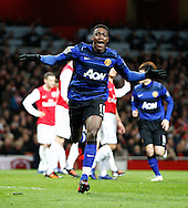 Picture by Andrew Tobin/Focus Images Ltd. 07710 761829. .21/01/12. Danny Welbeck (19) of Manchester United celebrates after scoring their second goal during the Barclays Premier League match between Arsenal and Manchester United at Emirates Stadium, London.