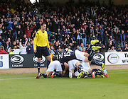 A pile of Dundee players celebrate after David Clarkson had opened the scoring  - Dundee v Hamilton, SPFL Premiership at Dens Park<br /> <br />  - &copy; David Young - www.davidyoungphoto.co.uk - email: davidyoungphoto@gmail.com