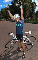 LONDON UK 31ST JULY 2016:  Dame Kelly Holmes, Gold Medal winning athlete. The Prudential RideLondon-Surrey 46 sportive in London 31st July 2016<br /> <br /> Photo: Bob Martin/Silverhub for Prudential RideLondon<br /> <br /> Prudential RideLondon is the world's greatest festival of cycling, involving 95,000+ cyclists – from Olympic champions to a free family fun ride - riding in events over closed roads in London and Surrey over the weekend of 29th to 31st July 2016. <br /> <br /> See www.PrudentialRideLondon.co.uk for more.<br /> <br /> For further information: media@londonmarathonevents.co.uk