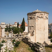 The Tower of the Winds is an octagonal Pantelic clocktower in the Roman Agora in Athens, Greece.  It functioned as a timepiece and is considered the world's first meteorological station.