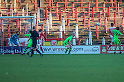 Wrexham's Shaun Harrad heads the ball scores a goal 1-0 during the Vanarama National League match between Wrexham FC and Forest Green Rovers at the Racecourse Ground, Wrexham, United Kingdom on 26 November 2016. Photo by Shane Healey.