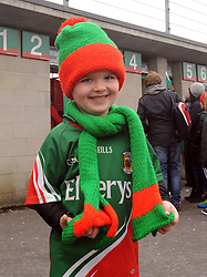 6 year old Joe Earley from Manulla at McHale park for the Mayo v Kerry national football league encounter. Pic Conor McKeown