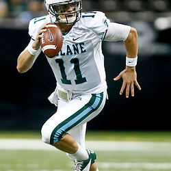 Oct 5, 2013; New Orleans, LA, USA; Tulane Green Wave quarterback Nick Montana (11) against the North Texas Mean Green during the first half at Mercedes-Benz Superdome. Tulane defeated North Texas 24-21. Mandatory Credit: Derick E. Hingle-USA TODAY Sports