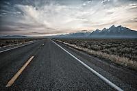 Sunset over the Grand Tetons, Jackson Hole, Wyoming.