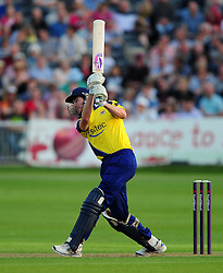 James Fuller of Gloucestershire plays a shot - Photo mandatory by-line: Dan Mullan/JMP - 07966 386802 - 16/05/2014 - SPORT - CRICKET - County Cricket Ground - Gloucester Cricket v Somerset Cricket - T20