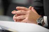 03 JAN 2008, BERLIN/GERMANY:<br /> Haende von Ronald Pofalla, CDU Generalsekretaer, waehrend einem Interview, in seinem Buero, Konrad-Adenauer-Haus<br /> IMAGE: 20080103-01-022<br /> KEYWORDS: Hand, H&auml;nde