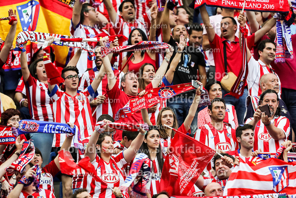 Supporters of Atletico prior to the football match between Real Madrid (ESP) and Atlético de Madrid (ESP) in Final of UEFA Champions League 2016, on May 28, 2016 in San Siro Stadium, Milan, Italy. Photo by Vid Ponikvar / Sportida
