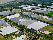 Nederland, Flevoland, Almere, 26-08-2019; Almere-Buiten, glastuinbouwgebied Buitenvaart en Oostvaardersbos. Op het tweede plan de Oostvaardersplassen.<br /> Greenhouses area north-east of the city of Almere, nature reserve Oostvaardersplassen in the background.<br /> luchtfoto (toeslag op standaard tarieven); aerial photo (additional fee required); copyright foto/photo Siebe Swart.
