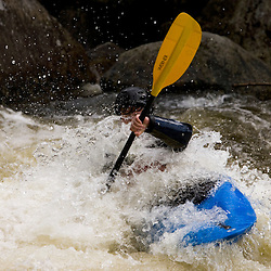 Whitewater kayaking Dragon's Tooth rapid on the Deerfield River in Rowe, Massachusetts.  Dryway run.  Class IV.