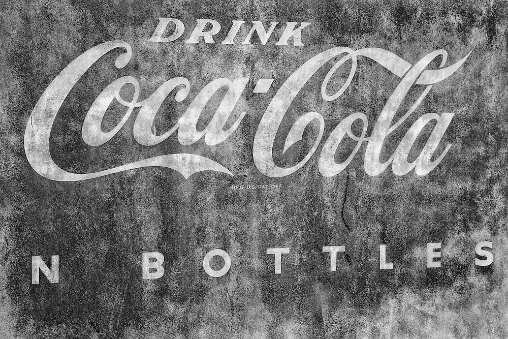Drink Coca Cola Rusted Sign Detail - Eldorado Canyon - Nelson NV - Black & White