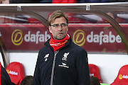 Liverpool Manager Jurgen Klopp  during the Barclays Premier League match between Sunderland and Liverpool at the Stadium Of Light, Sunderland, England on 30 December 2015. Photo by Simon Davies.