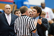 Head coach Josh Pastner of the Memphis Tigers has words with an official after Shaq Goodwin #5 was ejected from the game against the SMU Mustangs at Moody Coliseum on Wednesday, February 6, 2013 in University Park, Texas. (Cooper Neill/The Dallas Morning News)