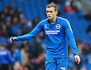 Brighton striker James Wilson warms up before the Sky Bet Championship match between Brighton and Hove Albion and Birmingham City at the American Express Community Stadium, Brighton and Hove, England on 28 November 2015. Photo by Bennett Dean.