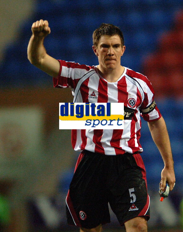 Photo: Paul Greenwood.<br />Wigan Athletic v Sheffield United. The Barclays Premiership. 16/12/2006.  Sheffield United Chris Morgan, sporting a black eye, reacts at the end of the game