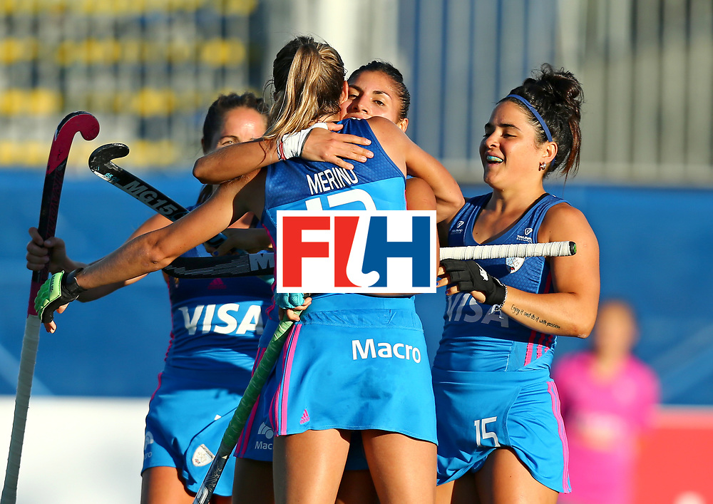 New Zealand, Auckland - 21/11/17  <br /> Sentinel Homes Women&rsquo;s Hockey World League Final<br /> Harbour Hockey Stadium<br /> Copyrigth: Worldsportpics, Rodrigo Jaramillo<br /> Match ID: 10301 - GER vs ARG<br /> Photo: (12) MERINO Delfina celebraiting with (15) GRANATTO Maria Eugenia, (26) ORTIZ Maria and (17) SANCHEZ MOCCIA Rocio