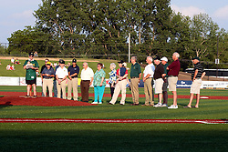 "1 June 2010: Pre-game ceremonies dedicate the Corn Crib and honor those involved in bringing Pro baseball back to the Twin Cities of Bloomington - Normal. Alan Sender Emcees the event. The Windy City Thunderbolts are the opponents for the first home game in the history of the Normal Cornbelters in the new stadium coined the ""Corn Crib"" built on the campus of Heartland Community College in Normal Illinois."