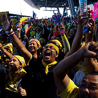 Anti-government protesters celebrate at the besieged Suvarnabhumi international airport, Bangkok, Thailand 02 December 2008. Thailand's Constitution Court on Tuesday found the government's ruling People Power Party guilty of colluding in election fraud and dissolved it, banning its executive from politics, including the current Prime Minister Somchai Wongsawat.