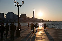 Crimeans take a walk at sunset in the waterfront of Sevastopol three days before the referendum. Ukraine , Thursday, 13th March 2014. Picture by Daniel Leal-Olivas / i-Images