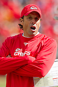 KANSAS CITY, MO - SEPTEMBER 26:   Head Coach Todd Haley of the Kansas City Chiefs yells at his assistant coach during a game against the San Francisco 49ers at Arrowhead Stadium on September 26, 2010 in Kansas City, Missouri.  The Chiefs defeated the 49ers 31-10.  (Photo by Wesley Hitt/Getty Images) *** Local Caption *** Todd Haley
