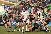 Twickenham, GREAT BRITAIN, Warriors, Sam TUITUPOU, on the run, Nick EASTER low flying tackle, during the Guinness Premiership match, Harlequins vs Worcester Warriors, played at the Twickenham Stoop on Sat. 16th Feb 2008.  [Mandatory Credit, Peter Spurrier/Intersport-images]