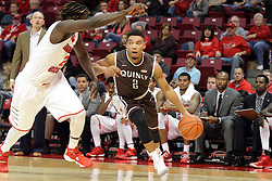 27 November 2015: Herm Senor II storms in under Quintin Brewer (2). Illinois State Redbirds host the Quincy Hawks at Redbird Arena in Normal Illinois (Photo by Alan Look)