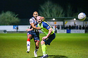 Maidenhead United midfielder James Comley tussles with Havant & Waterlooville midfielder Mike Carter during the Vanarama National League match between Maidenhead United and Havant & Waterlooville FC at York Road, Maidenhead, United Kingdom on 26 March 2019.