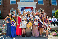 Wantagh, New York, USA. July 4, 2016. EMMA CAREY, newly crowned Miss Wantagh 2016 (front row 3rd from right) and other present and past contestants pose for group photo at the 60th Annual Miss Wantagh Pageant crowning ceremony, an Independence Day tradition on Long Island. Since 1956, the Miss Wantagh Pageant, which is not a beauty pageant, crowns an area high school student based mainly on academic excellence and community service.