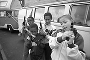 Gavin and Neville's Campervan, Black Kids with Guns, Micklefield,West Yorkshire, 1990.