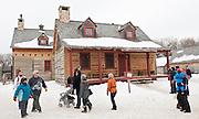 People in Ft. Gibraltor at the Festival Du Voyageur<br /> St. Boniface (Winnipeg)<br /> Manitoba<br /> Canada