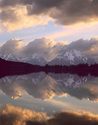 Cloud reflections and Mt Moran at the Oxbow Bend on the Snake River, Grand Teton National Park, Wyoming  1990