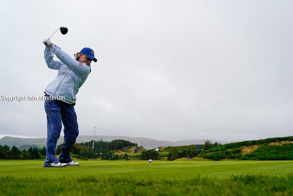 Auchterarder, Scotland, UK. 12 September 2019. Final practice day at 2019 Solheim Cup on Centenary Course at Gleneagles. Pictured; Morgan Pressel drives down 2nd fairway. Iain Masterton/Alamy Live News