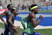 Jul 27, 2019; Des Moines, IA, USA; Kenny Bednarek wins 200m heat in 20.85 during the USATF Championships at Drake Stadium.