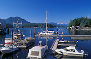 Boats at docks in Tofino on Vancouver Island; British Columbia, Canada.