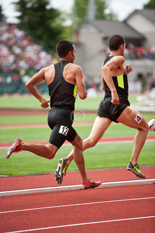 2012 USA Track & Field Olympic Trials: Men's 1500 meter final, David Torrence leads Leo Manzano