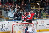 KELOWNA, CANADA - NOVEMBER 26: Kole Lind #16 and Tomas Soustal #15 of the Kelowna Rockets celebrate an overtime winning goal against Tyler Brown #31 of the Regina Pats on November 26, 2016 at Prospera Place in Kelowna, British Columbia, Canada.  (Photo by Marissa Baecker/Shoot the Breeze)  *** Local Caption *** Kole Lind; Tomas Soustal;
