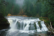 Lower Lewis Falls on the Lewis River, Gifford Pinchot National Forest, Cascade Mountains, Washington.
