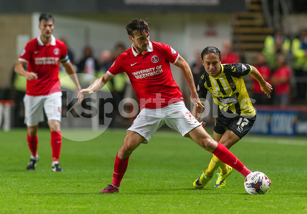 Patrick Bauer of Charlton Athletic in action during the Capital One Cup match between Charlton Athletic and Dagenham and Redbridge at The Valley, London, England on 11 August 2015. Photo by Vince  Mignott.