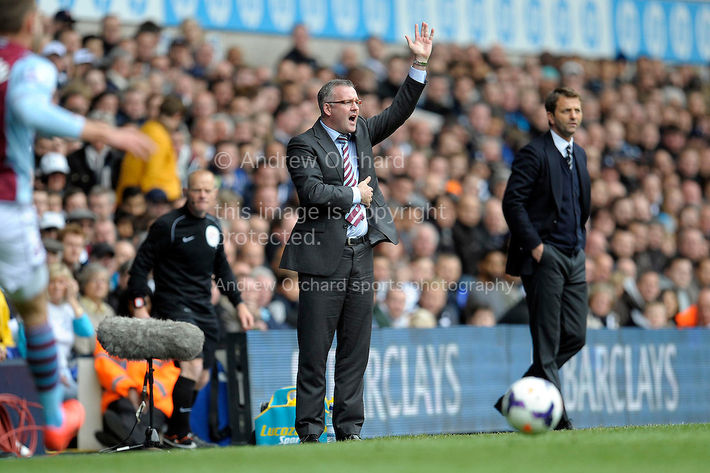 Aston Villa's head coach Paul Lambert calling out to his players whilst Tottenham Hotspur Manager Tim Sherwood looks on.  Barclays premier league match ,Tottenham Hotspur v Aston Villa at White Hart Lane in Tottenham, London  on Sunday 11th May 2014.<br /> pic by John Patrick Fletcher, Andrew Orchard sports photography.