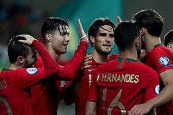 November 14, 2019, Faro, Portugal: Portugal's forward Cristiano Ronaldo  celebrates with teammates after scoring his third goal during the UEFA Euro 2020 Group B football qualification match between Portugal and Lithuania at the Algarve stadium in Faro, Portugal, on November 14, 2019. (Credit Image: © Pedro Fiuza/ZUMA Wire)
