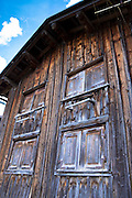 Traditional Swiss barn in Klosters in Graubunden region, Switzerland