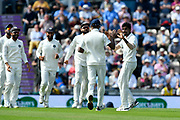 Wicket - Jasprit Bumrah of India celebrates taking the wicket of Jonny Bairstow of England during the first day of the 4th SpecSavers International Test Match 2018 match between England and India at the Ageas Bowl, Southampton, United Kingdom on 30 August 2018.