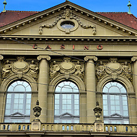 Kulturcasino Upper Façade in Bern, Switzerland <br /> If you are a gambler then you want to find the Kursaal or Grand Casino in Bern.  This is the Kulturcasino which, since 1909, has scheduled musical performances in their Great Hall by the Bernese symphony and chamber orchestras plus a variety of other concerts.  It can also be rented for special meetings and events plus it has the Casino Bern Restaurant with lovely views of the Aare River.