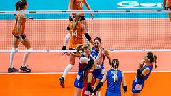 19-10-2018 JPN: Semi Final World Championship Volleyball Women day 18, Yokohama<br /> Serbia - Netherlands / Brankica Mihajlovic #9 of Serbia, Stefana Veljkovic #11 of Serbia, Maja OgnjenovicC #10 of Serbia