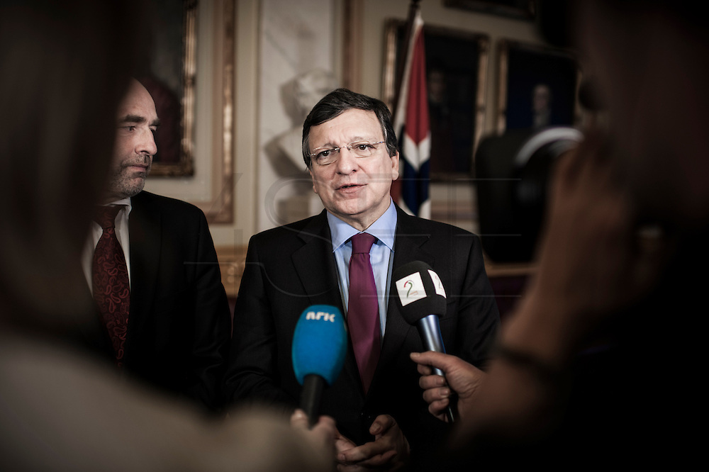 Nobel Peace Prize winner Jose Manuel Barrosa meets the press at the Norwegian Parliament.