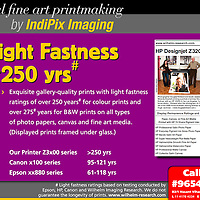 >> IndiPix Imaging: Fine Art Digital Printing Studio ?..With over 20 years experience in digital imaging and colour managed digital workflows, we have the expertise to understand all the technical nuances of fine art reproduction. We have our own Fine Art Digital Printing Studio which is equipped with the latest 12-Ink Archival Printing System for Gallery Quality Fine Art Prints (with light fastness rating of over 250 years) on a wide range of media. We also provide services for archival pasting on foam core boards, matting and framing.